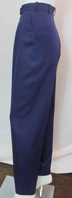 Chanel Vintage Blue Silk High Waisted Straight Leg Pant