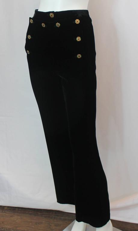 Chanel Black Velvet Sailor Style Pants With Gripoix