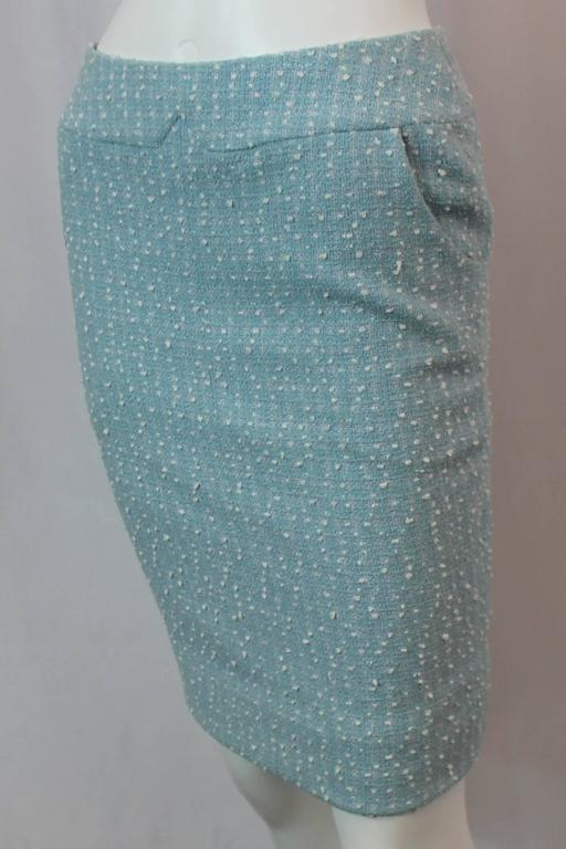 Chanel Light Blue Tweed Tapered Wool Blend Skirt - 38 - 1990's 2
