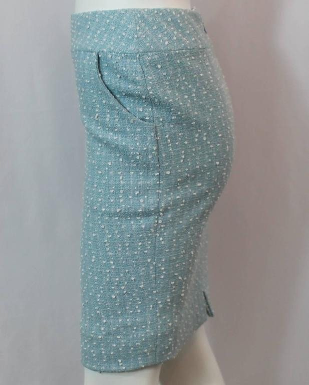 Chanel Light Blue Tweed Tapered Wool Blend Skirt - 38 - 1990's 3