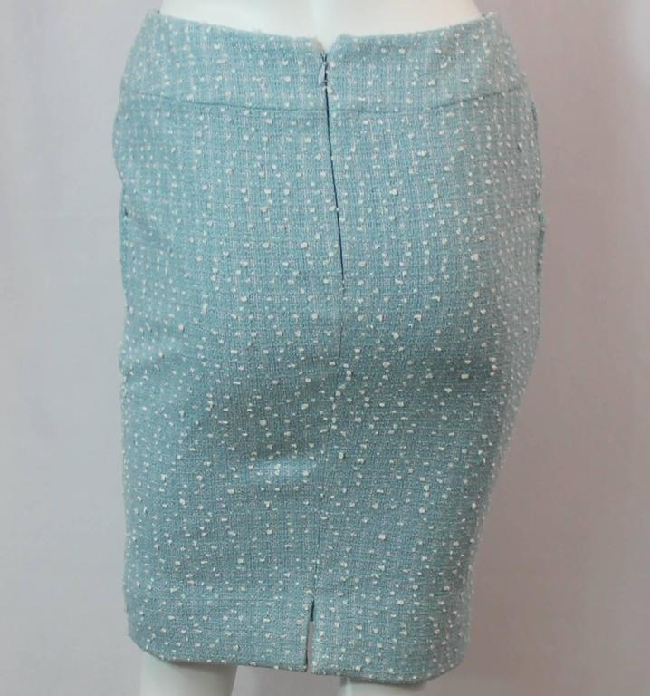 Chanel Light Blue Tweed Tapered Wool Blend Skirt - 38 - 1990's 4
