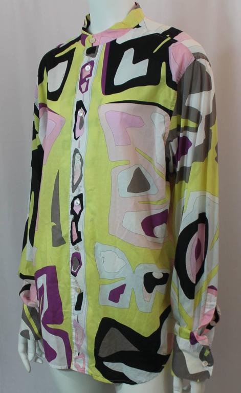 Emilio Pucci Multi Color Cotton Printed Long Sleeve Shirt