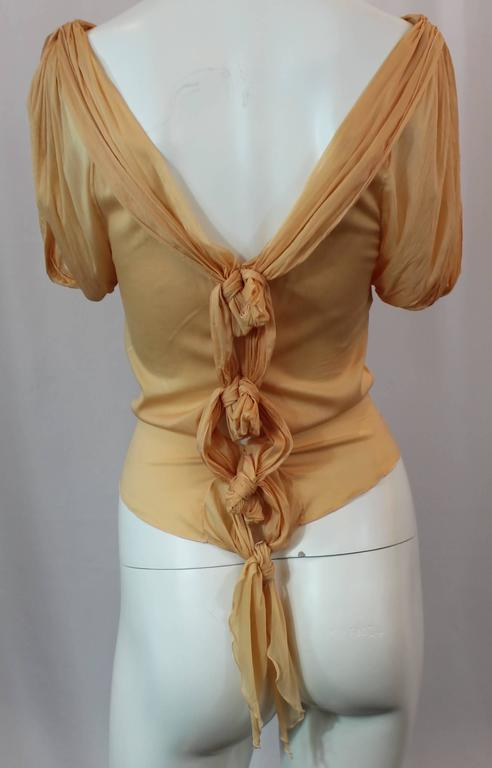 Christian Dior Mustard Colored Silk Ruched Sleeveless Blouse with Ties - S In Fair Condition For Sale In Palm Beach, FL