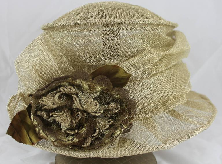 Suzanne Custom Millinery Gold Mesh Hat with Large Front Flower 2