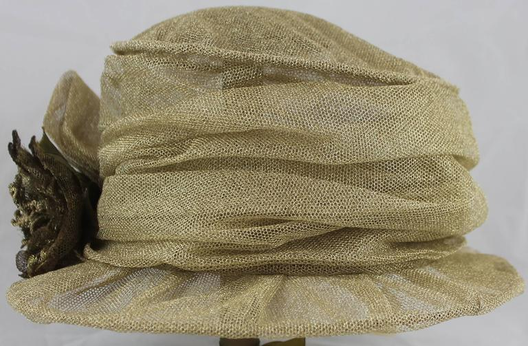 Suzanne Custom Millinery Gold Mesh Hat with Large Front Flower 3