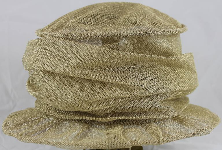 Suzanne Custom Millinery Gold Mesh Hat with Large Front Flower 4