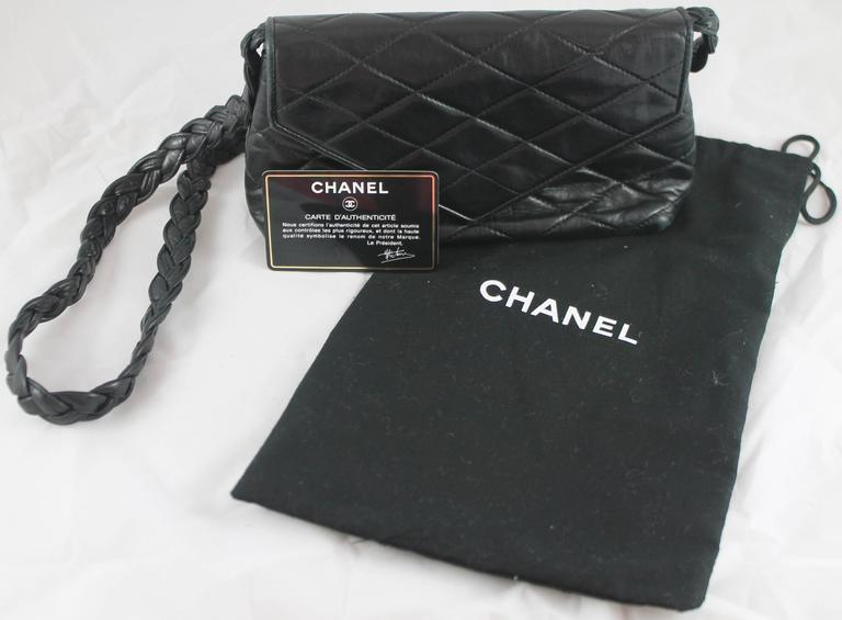 Chanel Vintage Black Quilted Lambskin Crossbody with Braided Strap - 1987 10