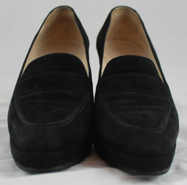 Chanel Black Suede Loafer Style Pumps - 36.5 For Sale 1
