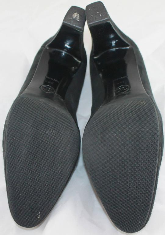 Chanel Black Suede Loafer Style Pumps - 36.5 For Sale 4