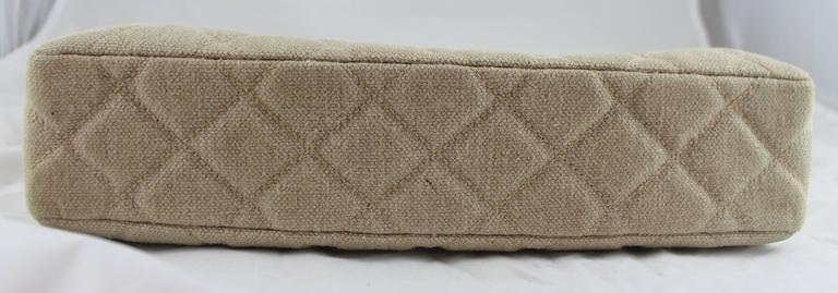 Women's Chanel Beige Raffia Quilted Tote w/ Turnkey Lock & chain strap-SHW-circa 97 For Sale