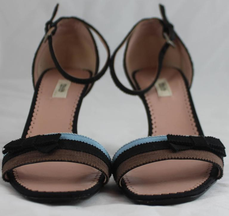 Prada Blue, Black, and Brown Grosgrain Striped Ankle Strap Heels with Bow - 36 For Sale 1
