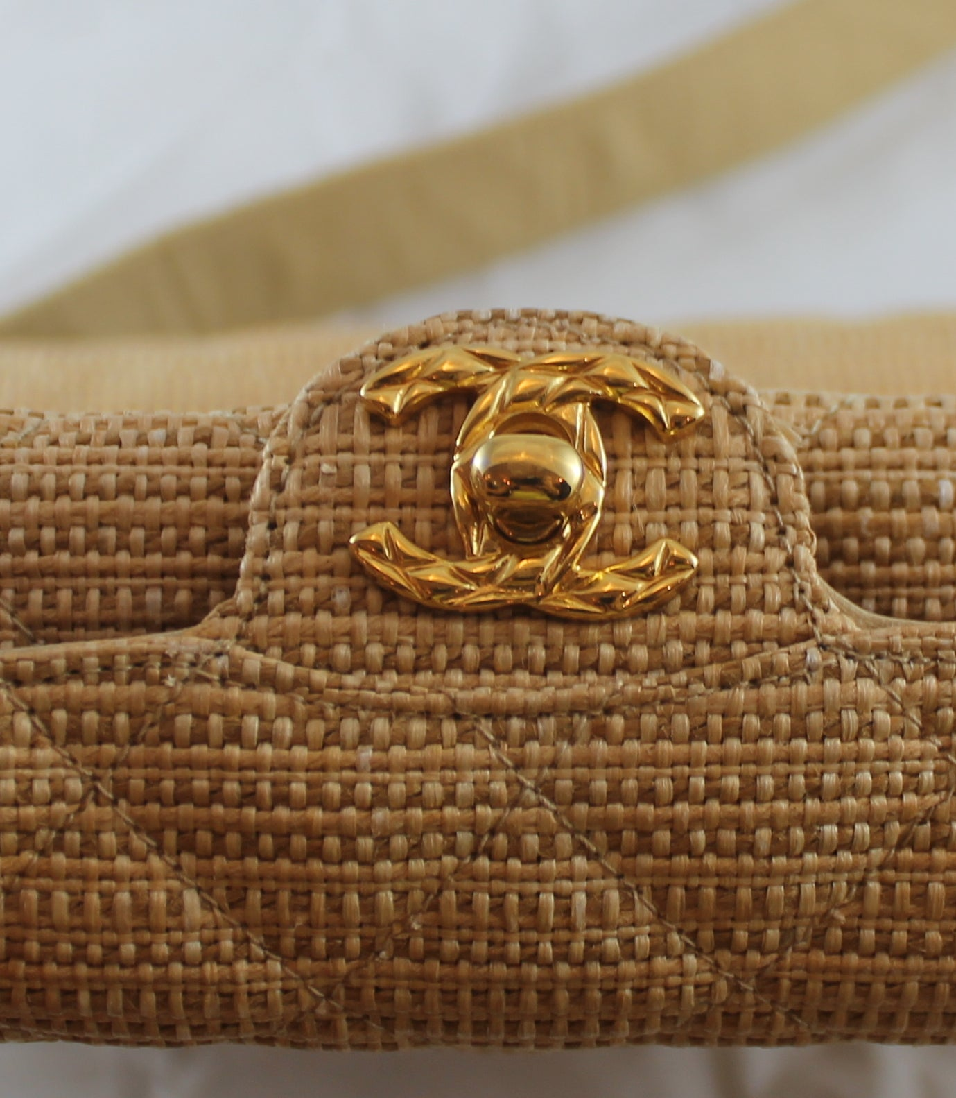 250a436c170c Chanel Beige Quilted Raffia Crossbody with Gold