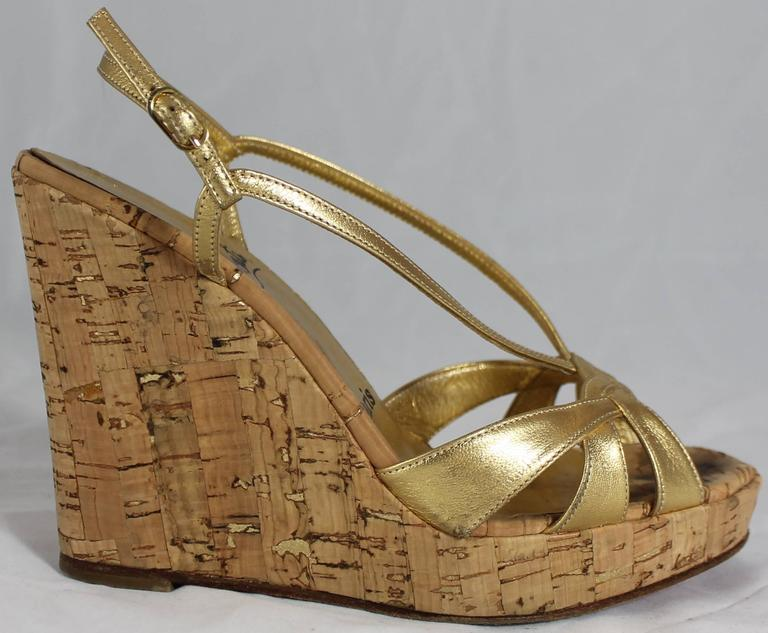 3f0292ba67d Christian Louboutin Gold Leather Strappy Cork Wedges - 36. These beautiful  wedges have a strappy