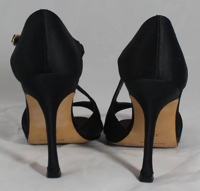 Manolo Blahnik Black Satin Strappy Heels - 36.5 4