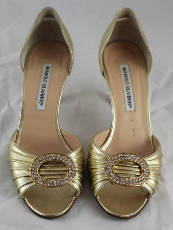 Brown Manolo Blahnik Gold D'Orsay Heels with Rhinestone Detail - 36.5 For Sale