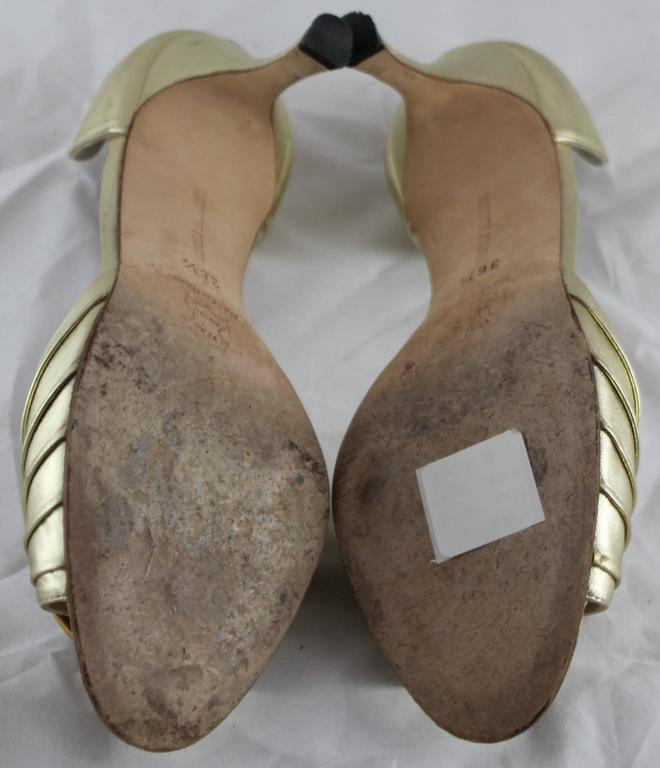 Women's Manolo Blahnik Gold D'Orsay Heels with Rhinestone Detail - 36.5 For Sale