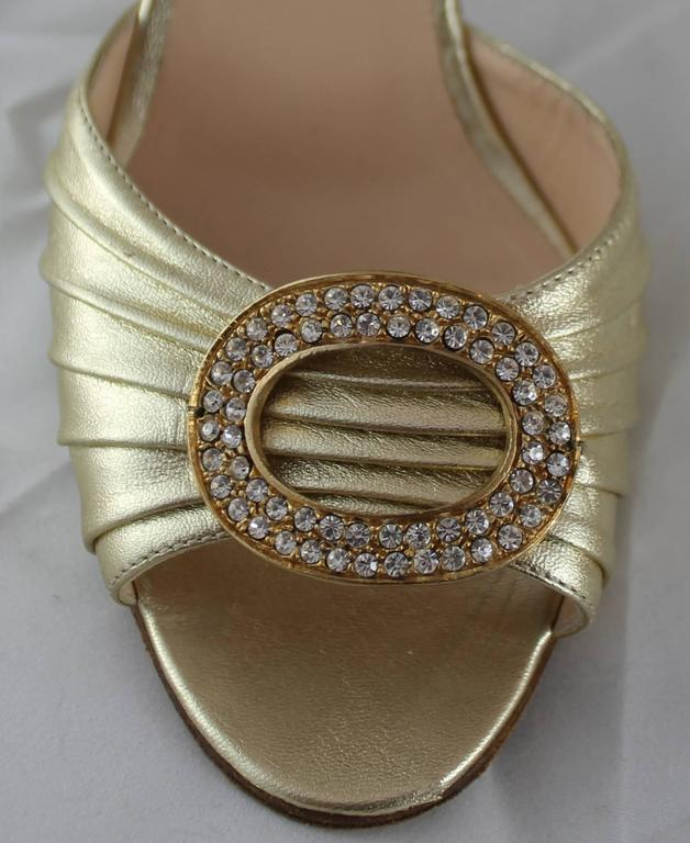 Manolo Blahnik Gold D'Orsay Heels with Rhinestone Detail - 36.5 For Sale 2