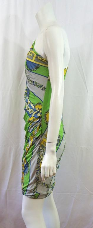 Emilio Pucci Green/Blue/Yellow One Shoulder Dress-42 2