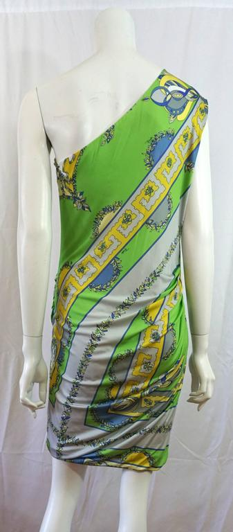Emilio Pucci Green/Blue/Yellow One Shoulder Dress-42 3