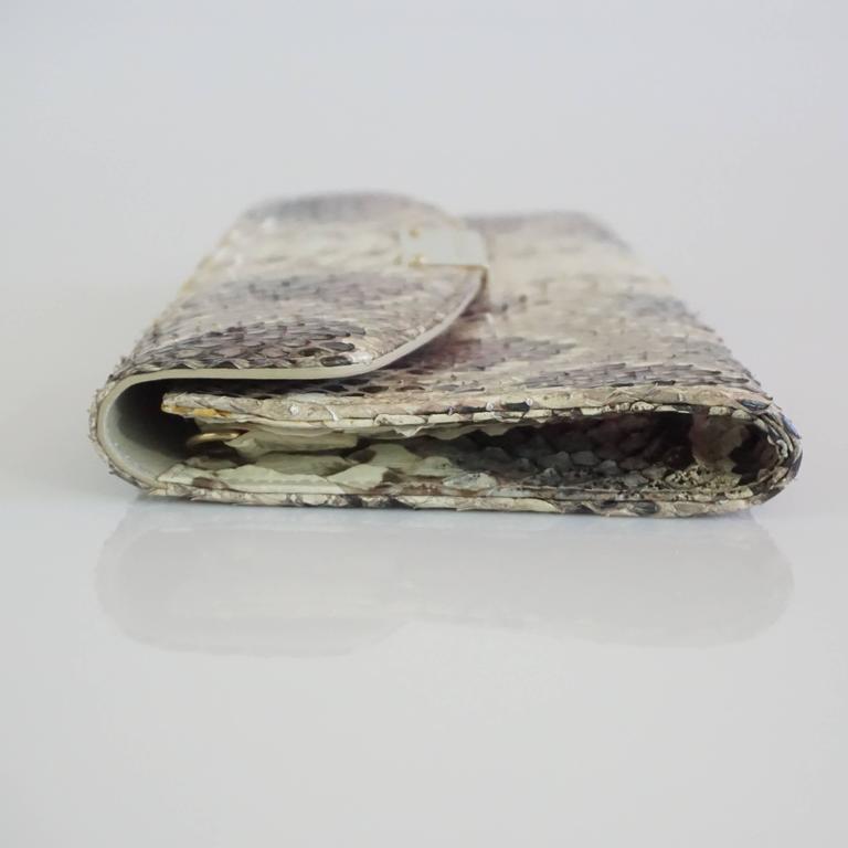 Jimmy Choo Earthtone Python Clutch with Strap - GHW 4
