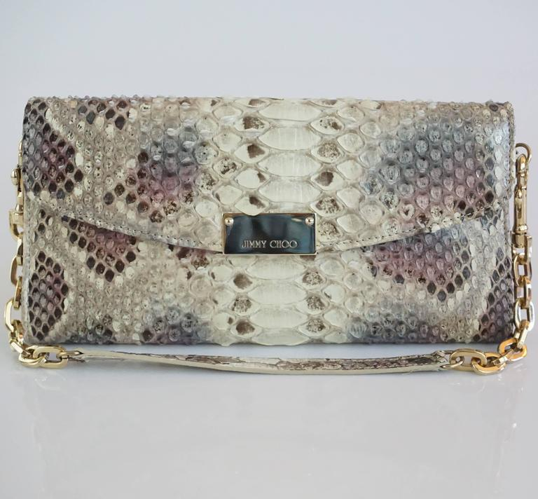 Women's or Men's Jimmy Choo Earthtone Python Clutch with Strap - GHW For Sale