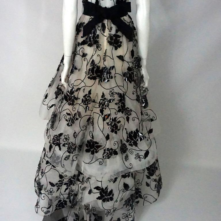 Oscar de la Renta Ivory Tulle Ball Gown w/ black sequin & patent detail-10 5