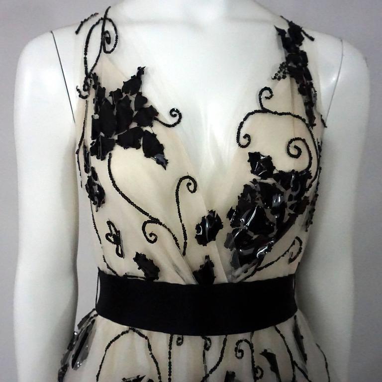 Oscar de la Renta Ivory Tulle Ball Gown w/ black sequin & patent detail-10 6