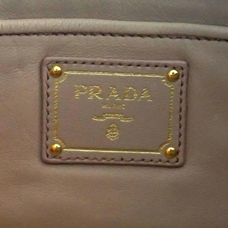Prada Black Ruched Lambskin Nappa Gaufre Clutch - GHW For Sale 1