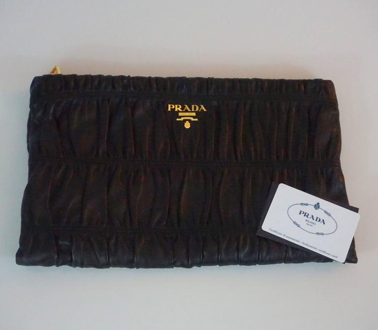 Prada Black Ruched Lambskin Nappa Gaufre Clutch - GHW For Sale 2