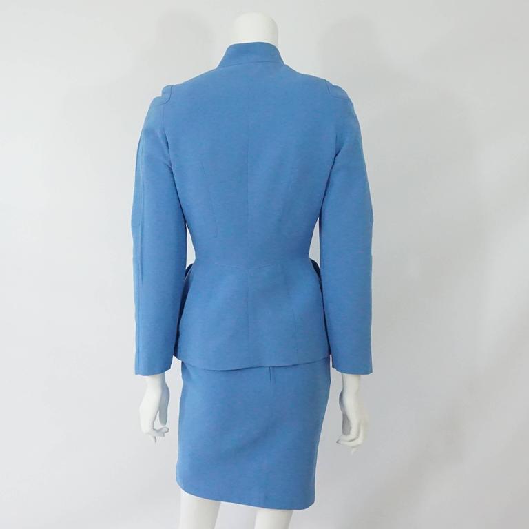 thierry mugler blue skirt suit 36 circa 80 s at 1stdibs