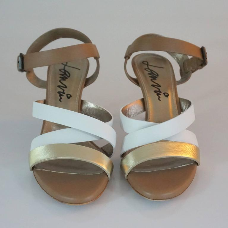 Brown Lanvin Tan/White/Gold Strappy Leather Sandal - 37 For Sale