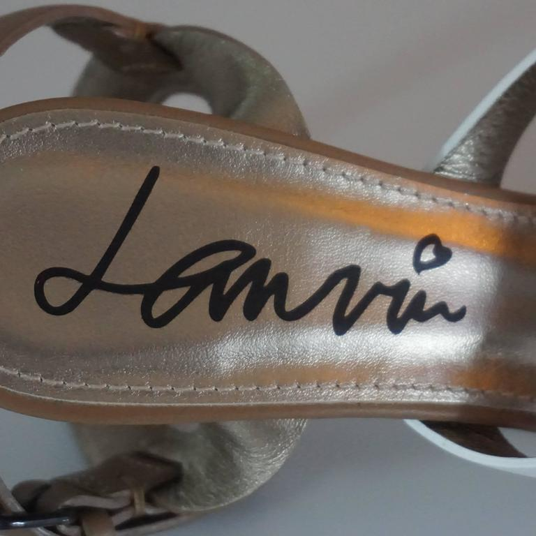 Lanvin Tan/White/Gold Strappy Leather Sandal - 37 For Sale 1