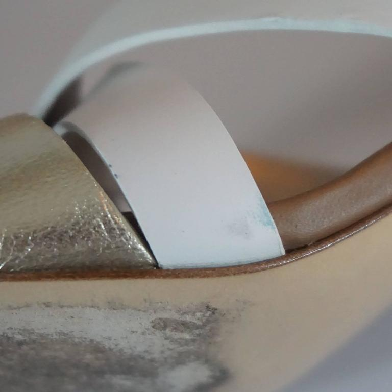 Lanvin Tan/White/Gold Strappy Leather Sandal - 37 For Sale 2