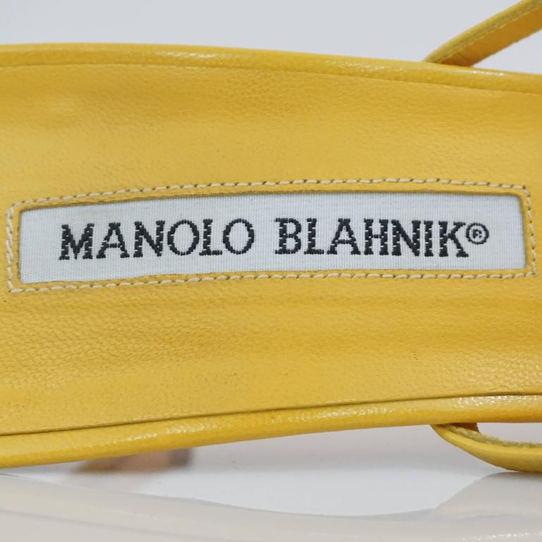 Manolo Blahnik Yellow Leather strappy sandal - 37 For Sale 2