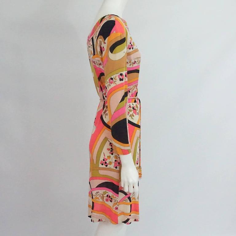 Emilio Pucci Multi Silk Jersey Geometric Print Dress with Belt - 8 - 1960's  2