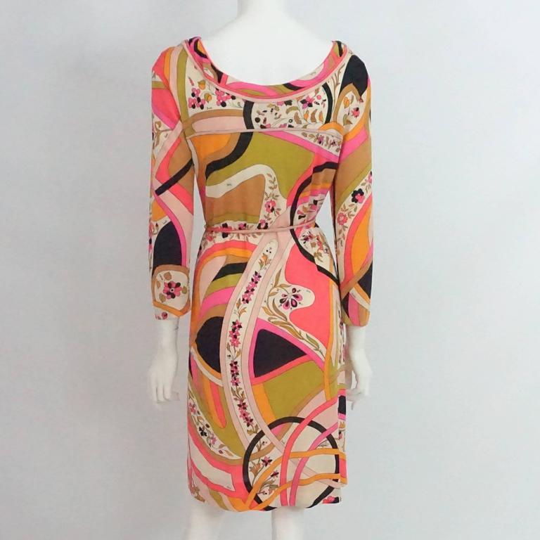 Emilio Pucci Multi Silk Jersey Geometric Print Dress with Belt - 8 - 1960's  3