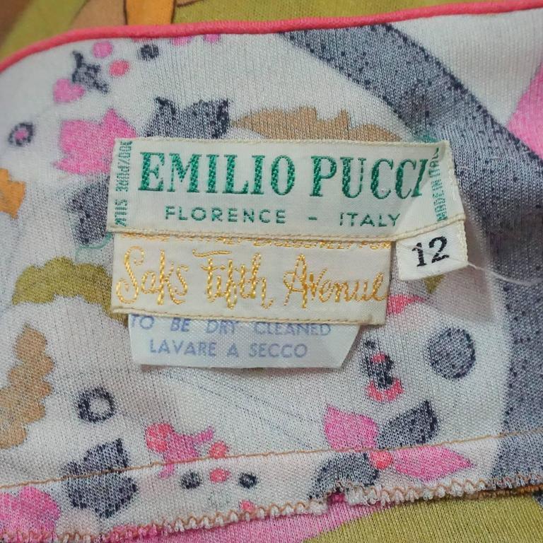 Emilio Pucci Multi Silk Jersey Geometric Print Dress with Belt - 8 - 1960's  5