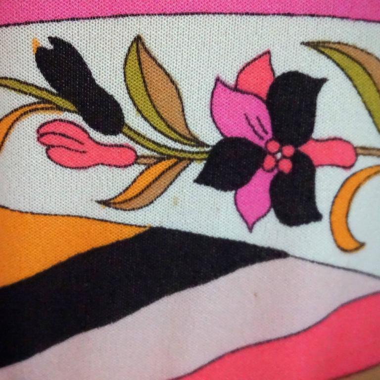 Emilio Pucci Multi Silk Jersey Geometric Print Dress with Belt - 8 - 1960's  6