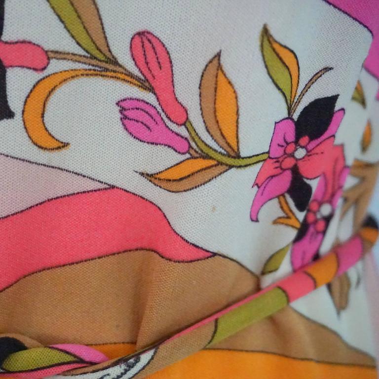 Emilio Pucci Multi Silk Jersey Geometric Print Dress with Belt - 8 - 1960's  7