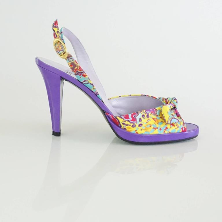Charles Jourdan Purple & Multi Platform Slingbacks - 8.5 2