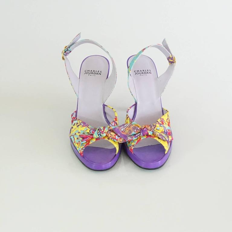 Charles Jourdan Purple & Multi Platform Slingbacks - 8.5 3