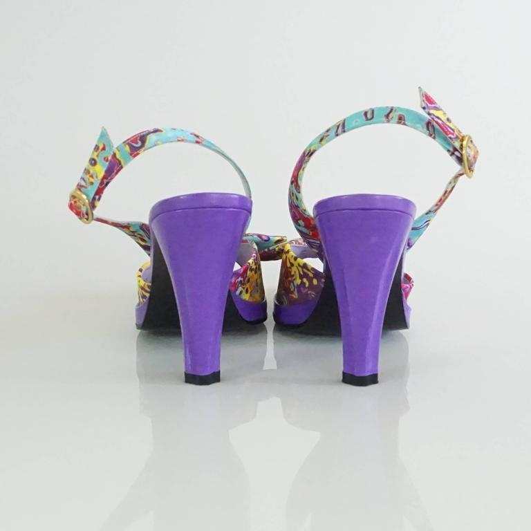 Charles Jourdan Purple & Multi Platform Slingbacks - 8.5 4