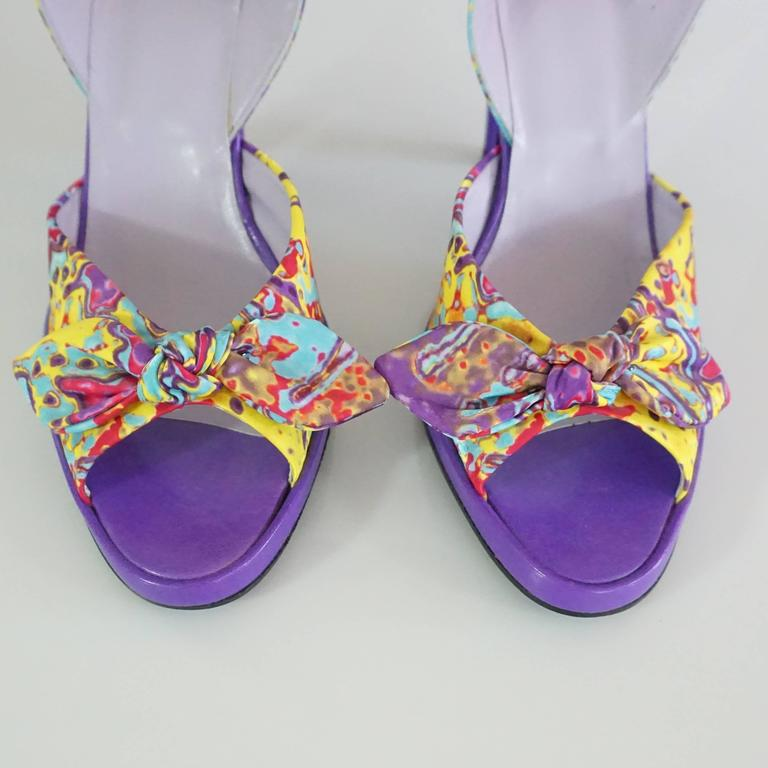 Charles Jourdan Purple & Multi Platform Slingbacks - 8.5 6