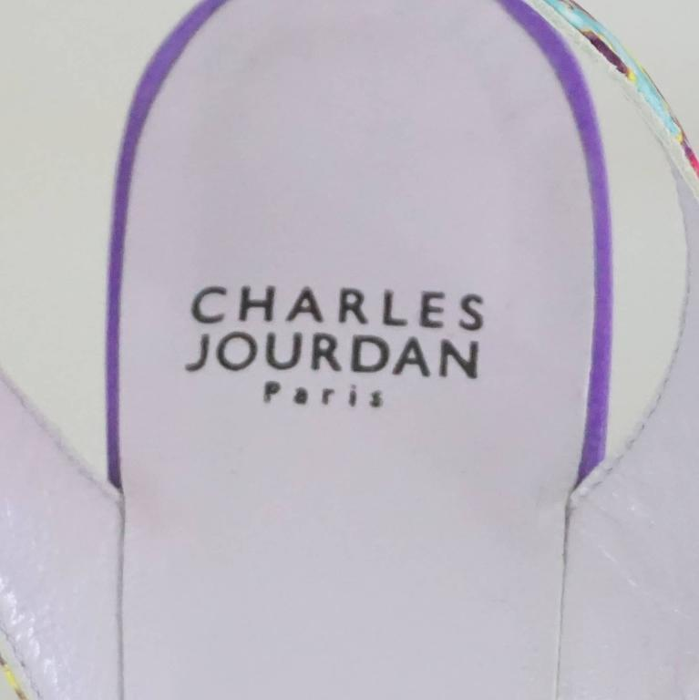 Charles Jourdan Purple & Multi Platform Slingbacks - 8.5 7