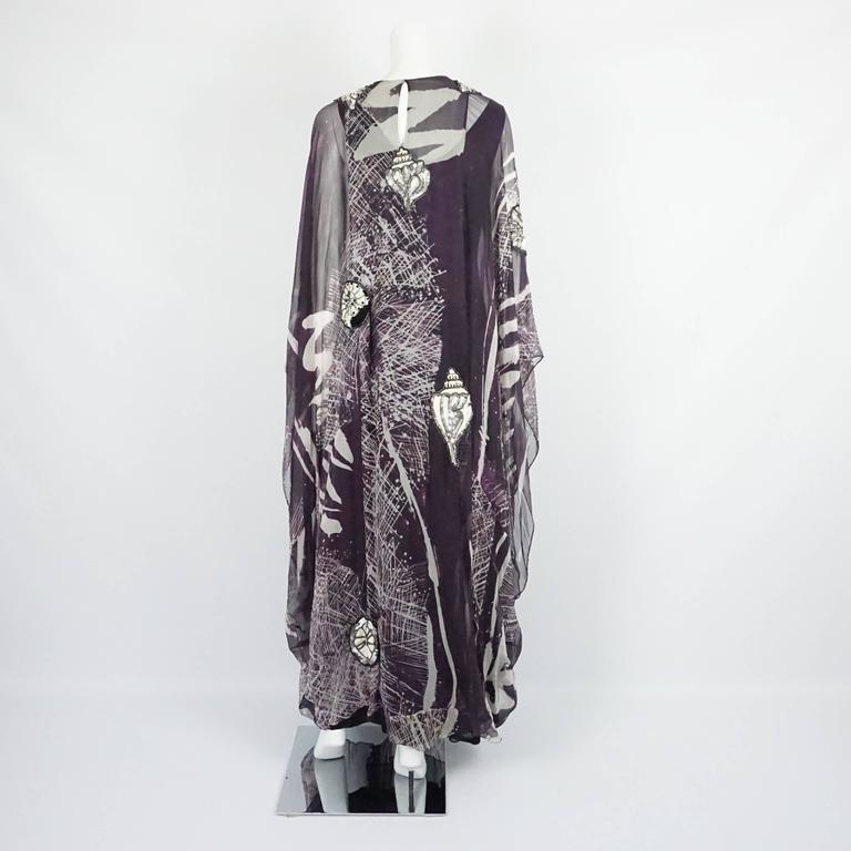 Black Thea Porter Eggplant & White Printed Silk Chiffon Seashell Caftan - OS - 1970's For Sale