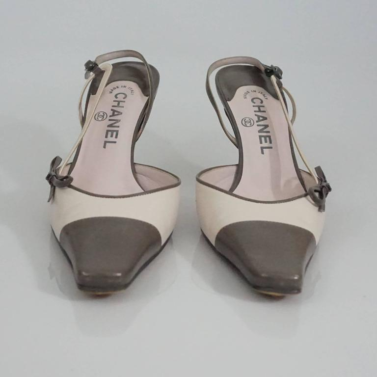 Chanel Creme and Taupe Slingback Heels - 37.5 3