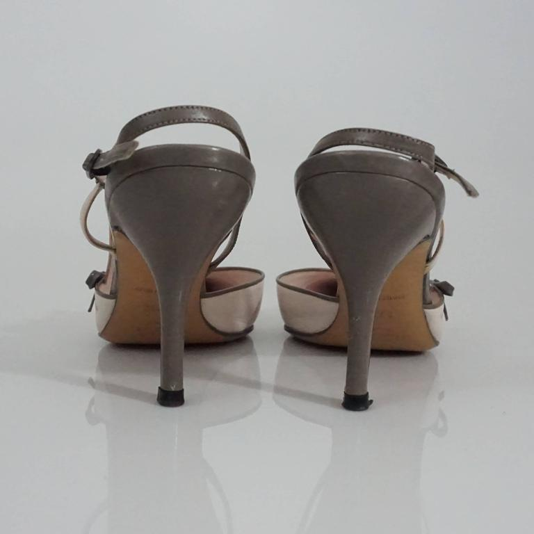 Chanel Creme and Taupe Slingback Heels - 37.5 4