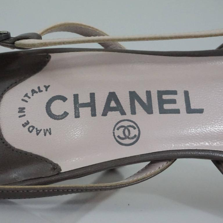 Chanel Creme and Taupe Slingback Heels - 37.5 6