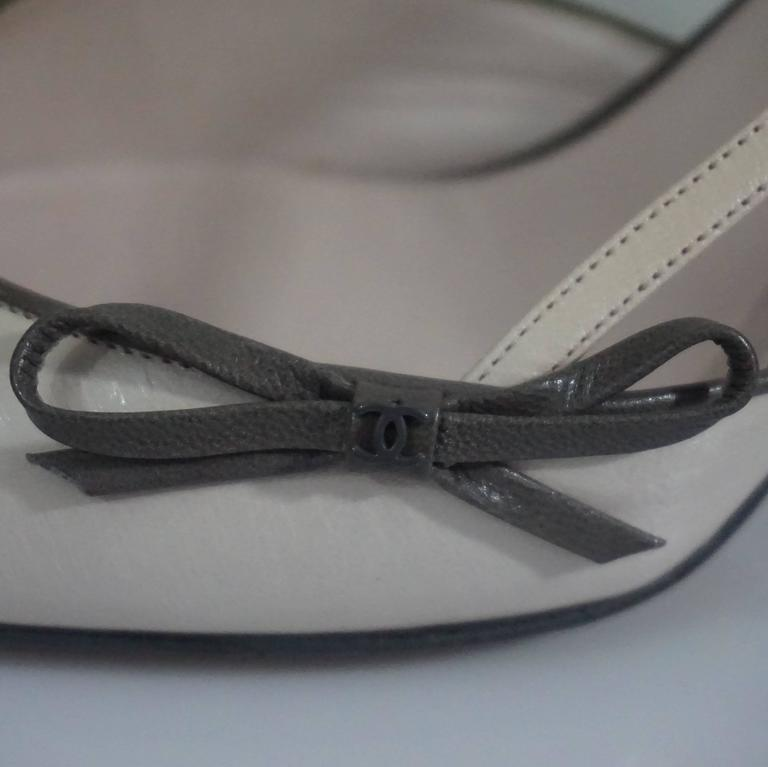 Chanel Creme and Taupe Slingback Heels - 37.5 7