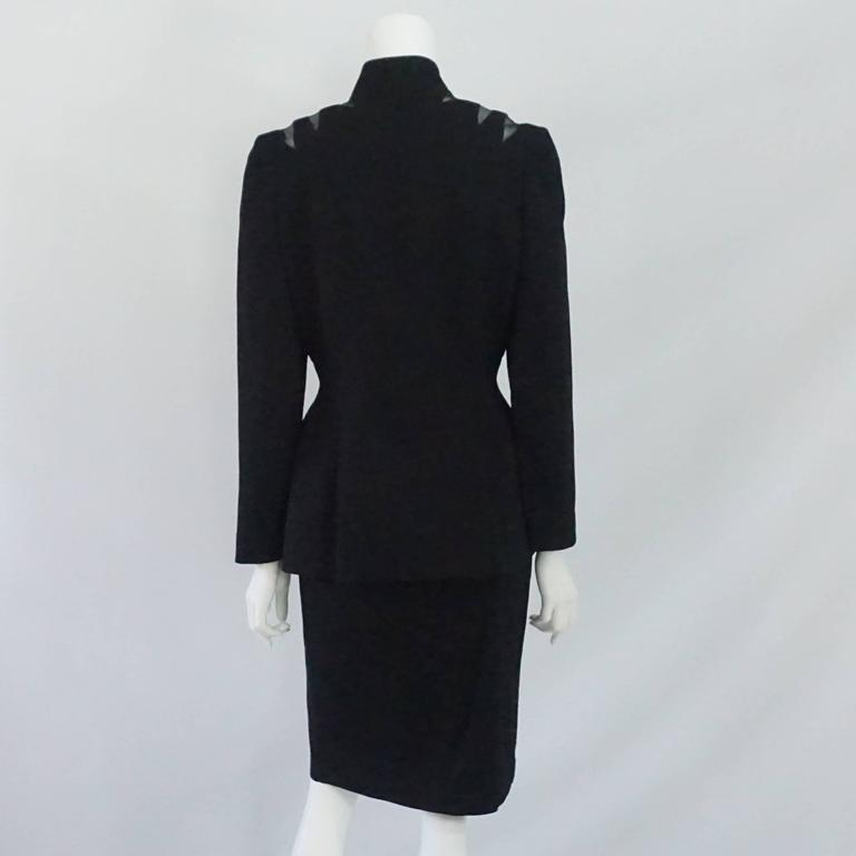 Thierry Mugler Black Wool Skirt Suit with Mesh Cutout Design - 42 - 1980's In Excellent Condition For Sale In Palm Beach, FL